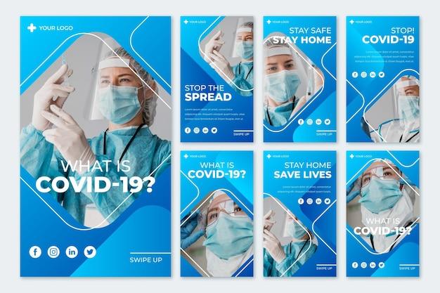 Conjunto de historias de instagram de coronavirus
