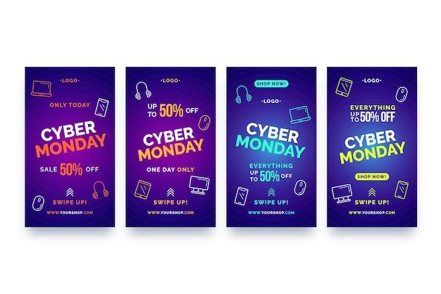 Conjunto de historias de instagram de cyber monday