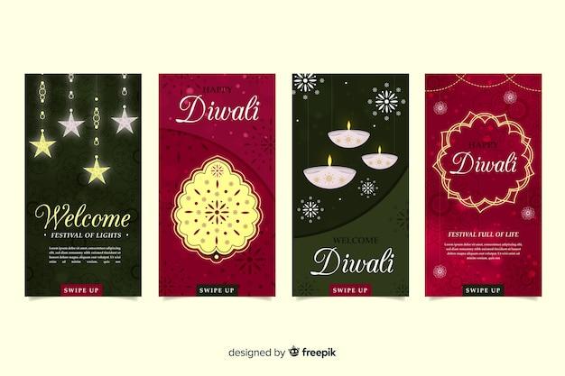 Conjunto de historias de instagram de diwali