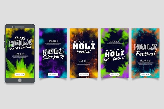 Conjunto de historias de instagram para el festival holi