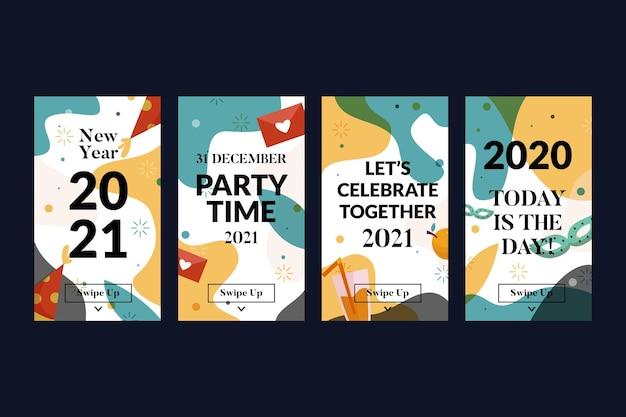 Conjunto de historias de instagram de fiesta de año nuevo 2021