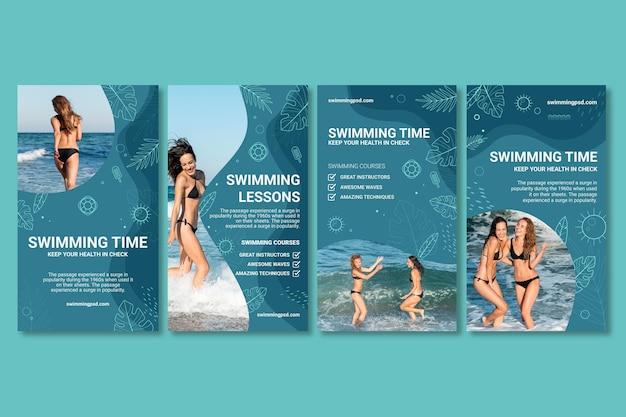 Conjunto de historias de instagram de natación
