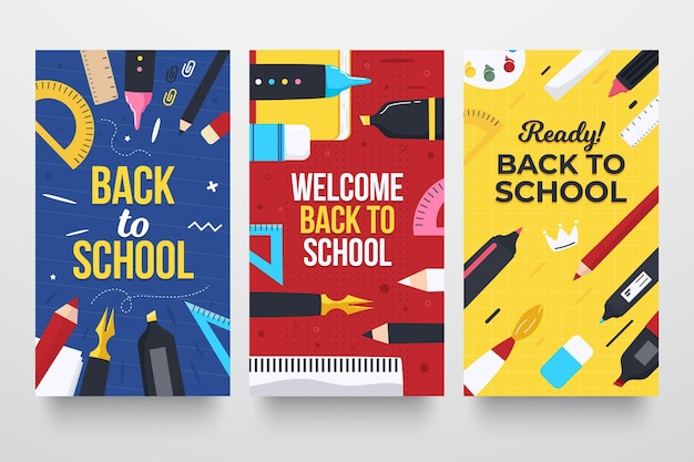Conjunto de historias de instagram de regreso a la escuela