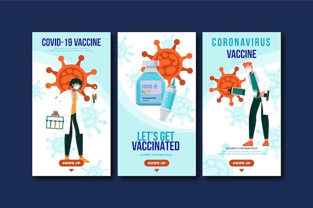 Conjunto de historias de instagram de vacuna de diseño plano