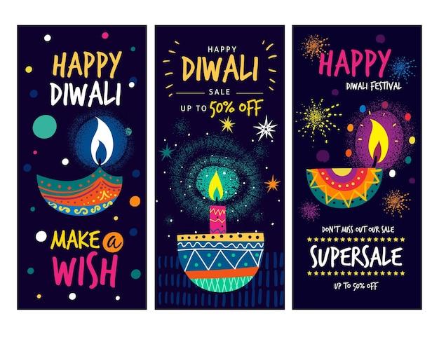 Conjunto de historias de instagram de venta de eventos de diwali