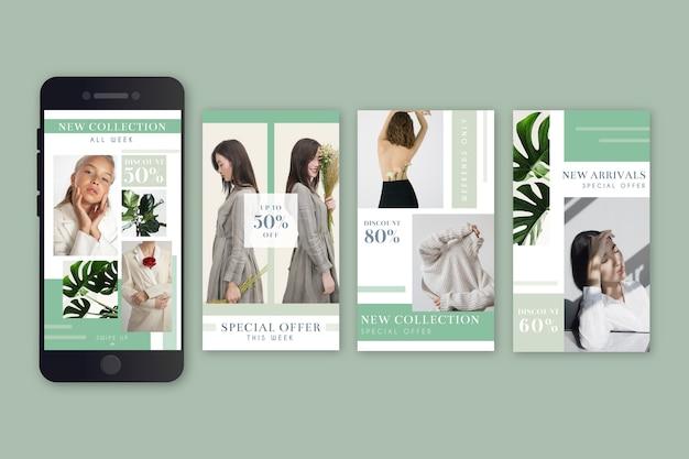 Conjunto de historias de instagram de venta de moda