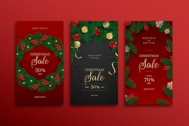 Conjunto de historias de instagram de venta de navidad