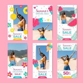 Conjunto de historias de instagram de venta de verano