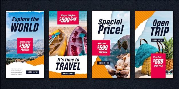 Conjunto de historias de instagram de venta de viajes