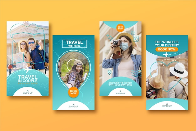 Conjunto de historias de instagram de venta de viajes.