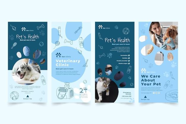 Conjunto de historias de instagram veterinaria vector gratuito