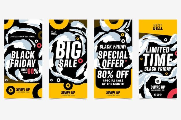 Conjunto de historias de instagram de viernes negro de diseño plano