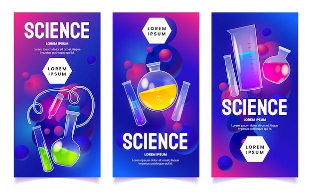 Conjunto de historias de laboratorio de química.