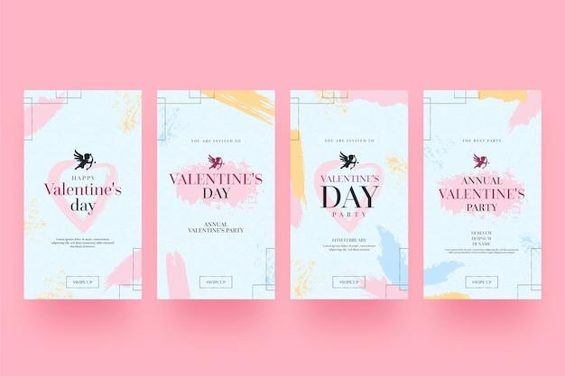 Conjunto de historias modernas del día de san valentín.