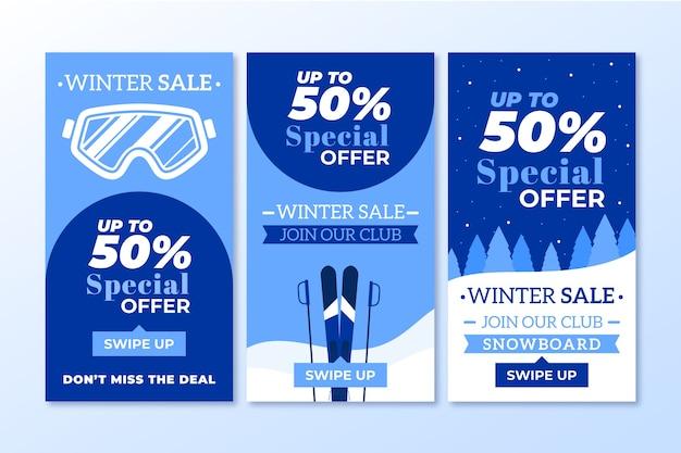 Conjunto de historias de redes sociales de rebajas de invierno.