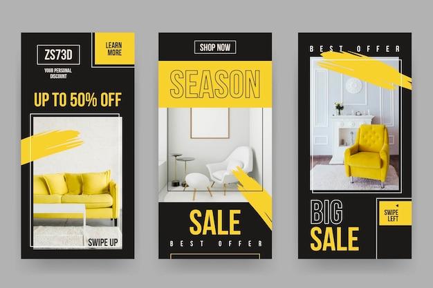 Conjunto de historias de redes sociales de venta de muebles.