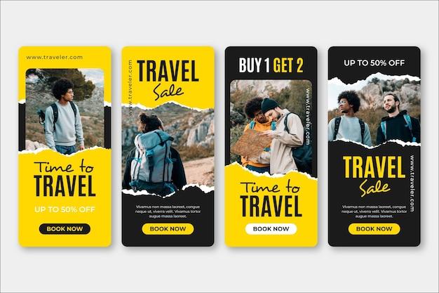 Conjunto de historias de redes sociales de venta de viajes.