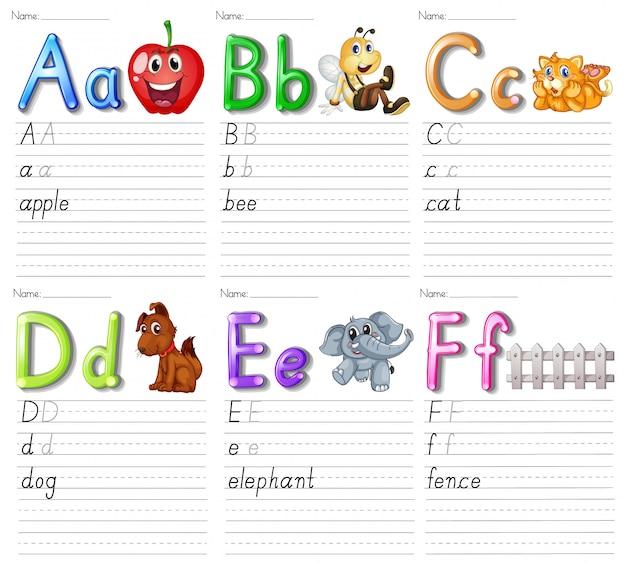 Conjunto de hoja de cálculo del alfabeto en papel blanco