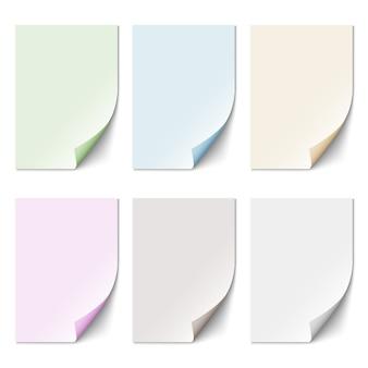 Conjunto de hoja de papel vacía en colores pastel