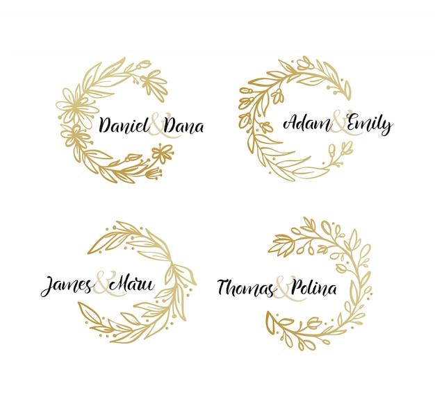 Conjunto de hojas de botánico corona de oro plantilla de invitación de boda.