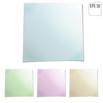 Conjunto de hojas de color de papeles de nota. cuatro notas adhesivas.