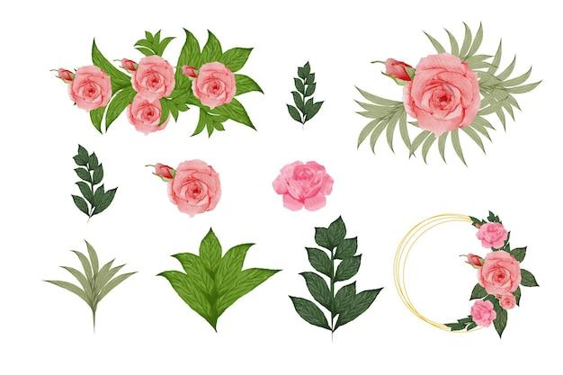 Conjunto de hojas y flores de acuarela establecer arreglos de acuarela con rosas hojas ramas botánico