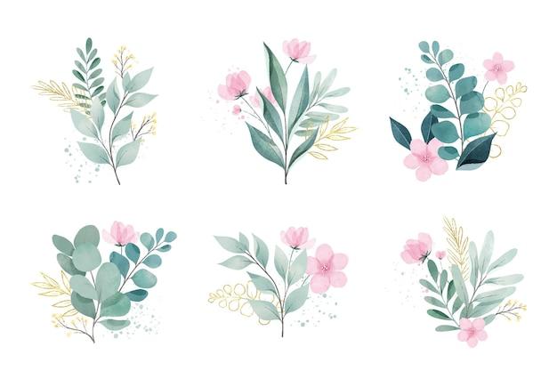 Conjunto de hojas y flores de acuarela