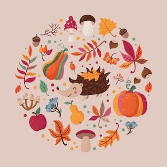 Conjunto de hojas de otoño en un círculo