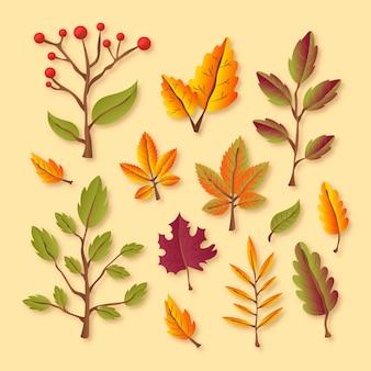 Conjunto de hojas de otoño realista