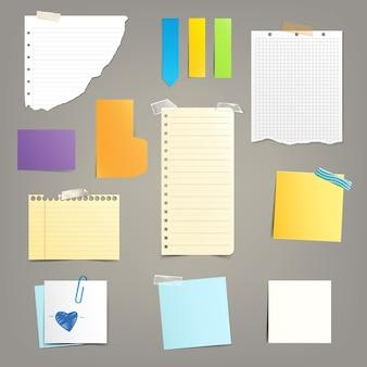 Conjunto de hojas de papel diferentes.