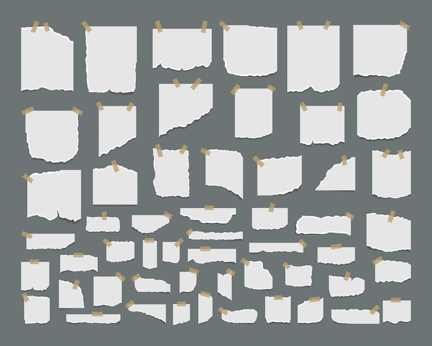 Conjunto de hojas de papel rasgadas con adhesivo