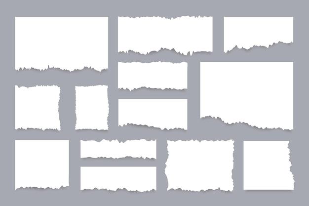 Conjunto de hojas de papel rasgadas. pedazos realistas de páginas blancas rotas.