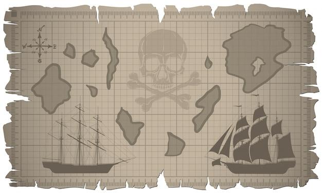 Conjunto de hojas de papel viejas y mapa antiguo. vector.