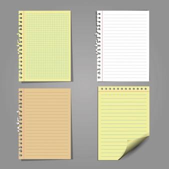 Conjunto de hojas de papel