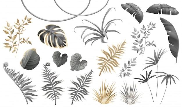 Conjunto de hojas y plantas oscuras, doradas y plateadas.