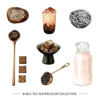 Conjunto de hojas de té acuarela, té de burbujas