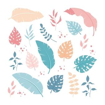 Conjunto de hojas tropicales y elementos florales, simple y moderno.