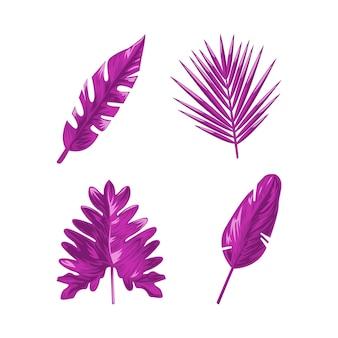 Conjunto de hojas tropicales monocromáticas