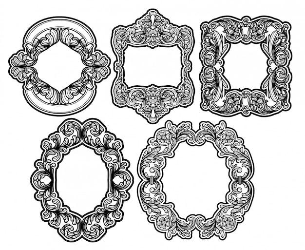 Conjunto de hojas de vingtage de siluetas de marco barroco