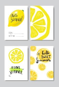 Conjunto hola verano insignia de limón aislado tipográfico
