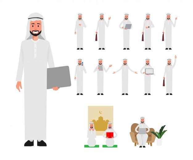 Conjunto de hombre árabe en la rutina diaria de trabajo de estilo de vida.
