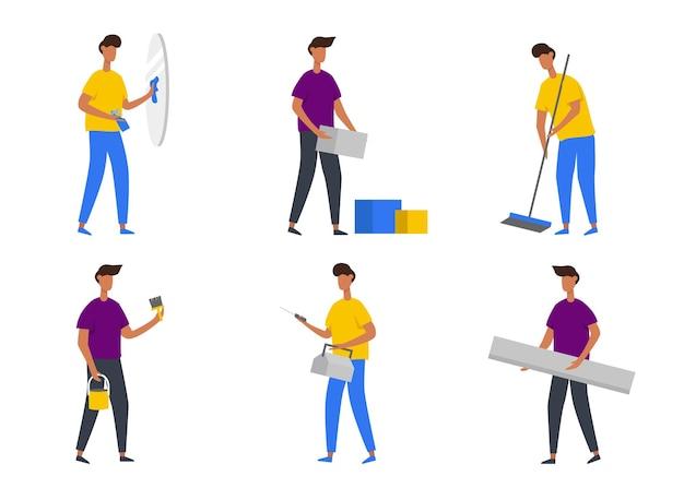 Conjunto de hombre haciendo actividad en casa en personaje de dibujos animados, reparación de manguera, limpieza de ventana de vidrio y otro gesto, ilustración plana aislada