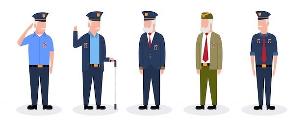 Conjunto de hombre militar veteranos del ejército soldado ilustración de dibujos animados premium vector