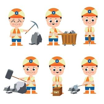 Conjunto de hombre minero que trabaja en la colección de personajes de dibujos animados, ilustración aislada