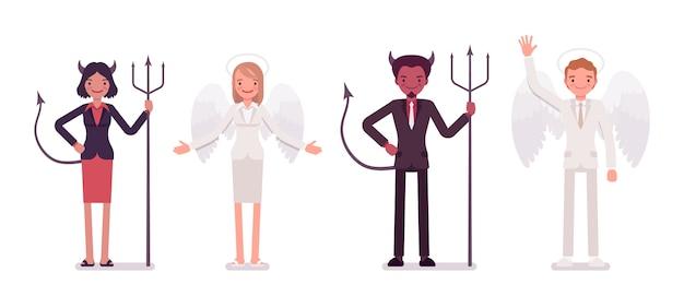 Conjunto de hombre, mujer ángel y demonio en una vestimenta formal