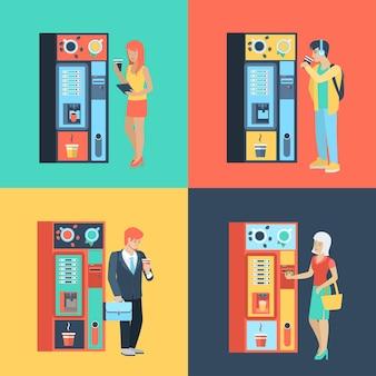 Conjunto de hombre mujer antes de cafetera automática. situación de estilo de vida de personas planas pausa para el café. colección de ilustraciones de jóvenes humanos creativos.
