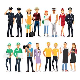 Conjunto de hombre y mujer de carácter de trabajo de personas, personaje de dibujos animados de ilustración.