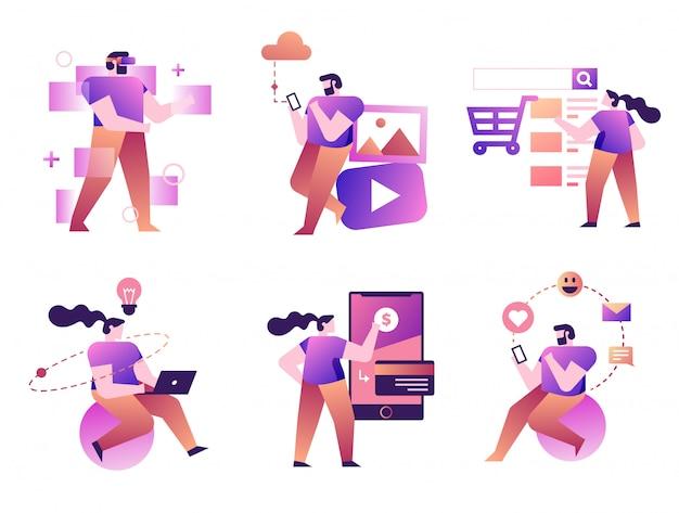 Conjunto de hombre y mujer interactuados con tecnologías.