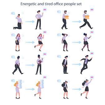Conjunto de hombre y mujer de negocios enérgico y agotado. empresarios cansados y llenos de energía. agotamiento profesional o productividad y entusiasmo.