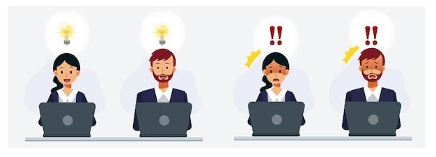 El conjunto de un hombre y una mujer que tuvo una inspiración mientras trabajaba en una computadora portátil, estaba impactando con algo en la computadora portátil. ilustración de personaje de dibujos animados de vector de falt.